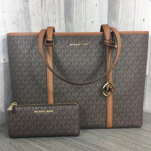Michael Kors Handbags - Michael Kors LG Sady Tote Bag Brown with Wallet